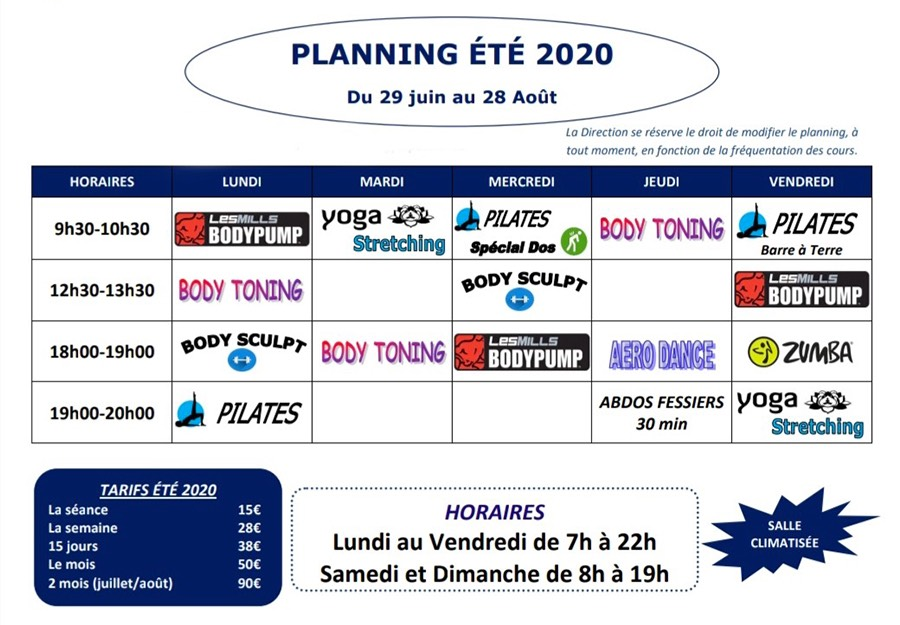 Planning été 2020 Gym Passion Hyères