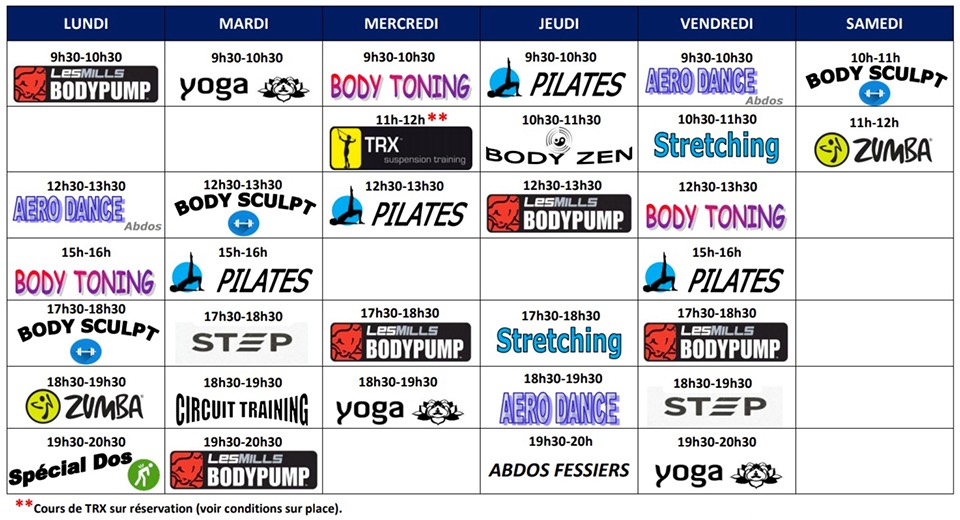Planning rentrée 2020 Gym Passion